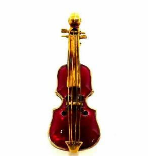 Antique Yellow Gold Red Enamel Violin Pin Brooch