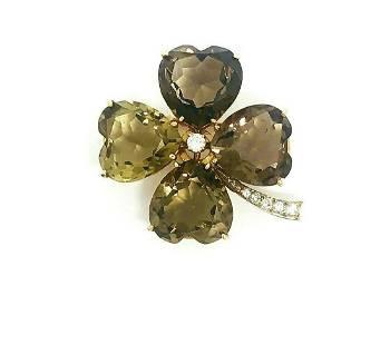 VINTAGE Yellow Gold Diamond Smoky Quartz Clover Brooch