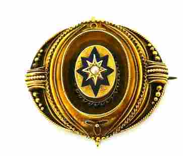 Victorian 14k Yellow Gold Enamel Pearl Brooch Pin