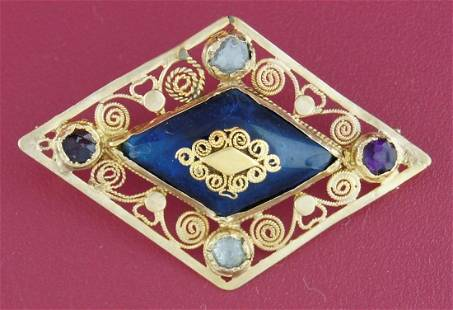 Antique COLORED GLASS YELLOW GOLD PIN PENDANT Brooch