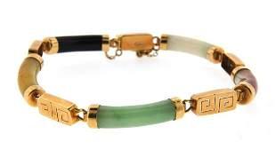 WONDERFUL Chinese 14k Gold & Jade Bracelet Circa 1970!