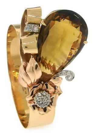 BIRKS CITRINE DIAMOND PLATINUM YELLOW GOLD RETRO