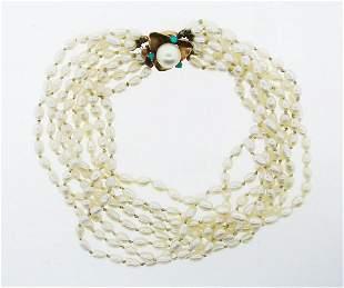 FEMININE 14k Rose Gold, Fresh Water Pearl & Turquoise