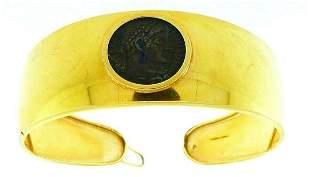 18k Yellow Gold Ancient Coin Bangle