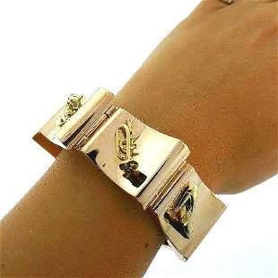 Retro 1940 14K 585 Yellow Gold Bold Bracelet Attached