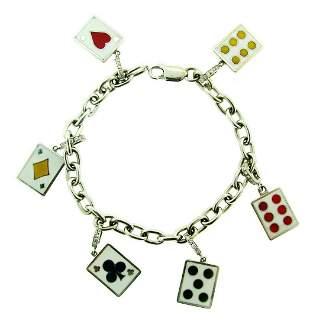 BLACKJACK! 18k White Gold, Enamel & Diamond Cards &