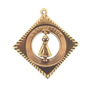CONGRATULATIONS 14k Yellow Gold Graduation Charm