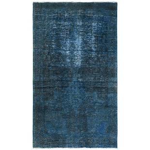 Modern Stone Wash Teal Persian Hamadan Worn Wool Hand