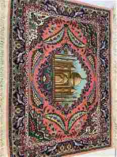 Hand Knotted Persian Tabriz rug 3.2x3.2. ft