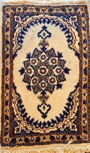 """Persian Hand Knotted Rug, Tabriz, 24"""" x 16"""", Wool &"""