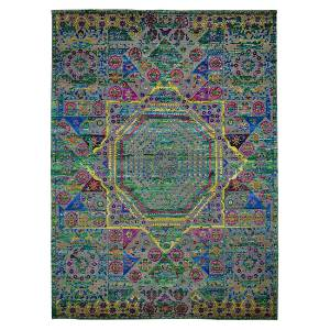 Colorful Sari Silk Mamluk Design Hand Knotted Oriental