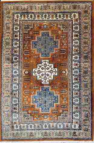 """Oriental Hand Knotted Rug, Afshar- Wool- 4'2"""" x 6' 3"""""""