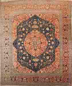 1950 Vintage Geometric Vegetable Dye Authentic Tabriz