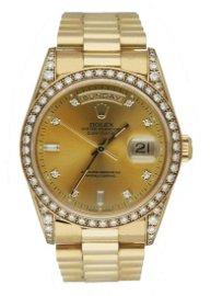 Rolex Day Date 18388 18K Yellow Gold Diamond Dial Men's