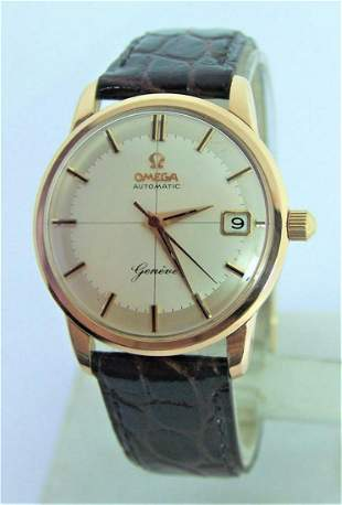 Vintage Solid 18k Rose OMEGA GENEVE Automatic Watch