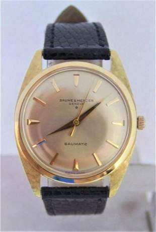 Solid 18k BAUME & MERCIER Baumatic Watch c.1960s Ref