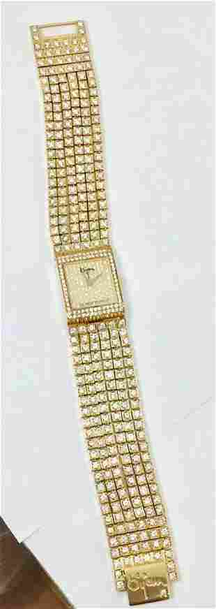 18k Yellow Gold BIJAN Ladies watch w/16ct Diamonds 25