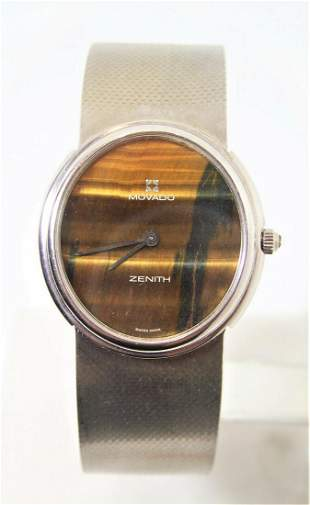 Solid 18k White Gold MOVADO by ZENITH Mens Watch TIGER