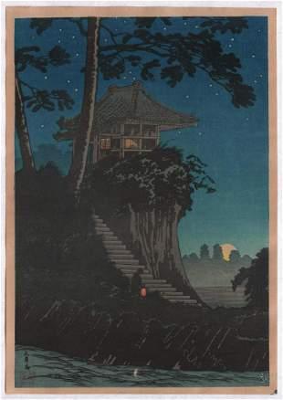 Takahashi Shotei. : Moonrise at Tokumuchi.