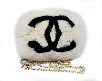 Rare Vintage Chanel Rabbit Lapin Fur Muff Bag Hand