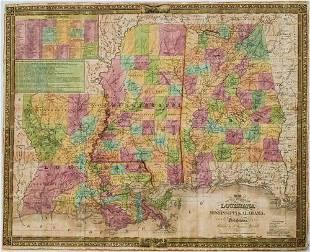 1835 Mitchell Map of Louisiana, Mississippi and Alabama