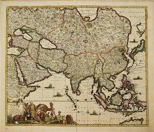 1680 deWit Map of Asia -- Accuratissima Totius Asiae