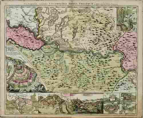 1720 Homann Map of Siege of Belgrade --