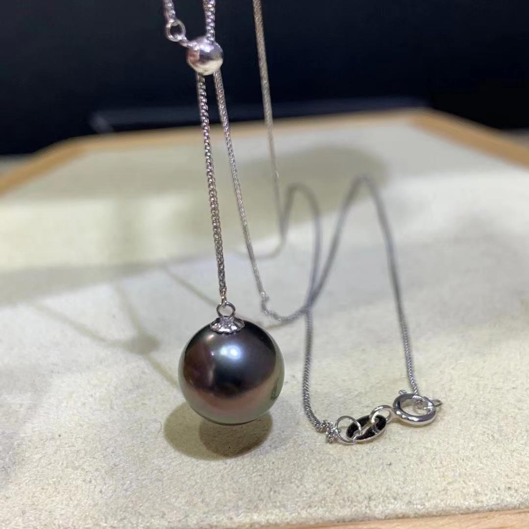 18 kt. White Gold - 10x11mm Round Tahiti Pearls