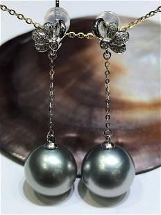18 kt. White Gold - 11x12 mm Round Tahiti Pearls