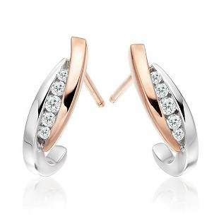0.19 Ctw Round White Diamond 18K Gold Earring For Women