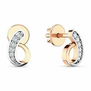 0.07 Ctw Round White Diamond 18K Gold Earring For Women