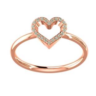 0.12 Ctw Round White Diamond 18K Gold Ring For Women