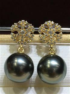 18 kt. White Gold - 10x11 mm Round Tahiti Pearls