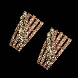 0.82 Ctw Round White Diamond 14K Gold Earring For Women