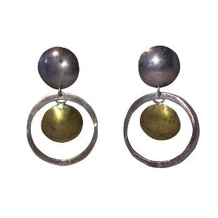 Mexican Brutalist Sterling & Brass Disc Hoop Earrings