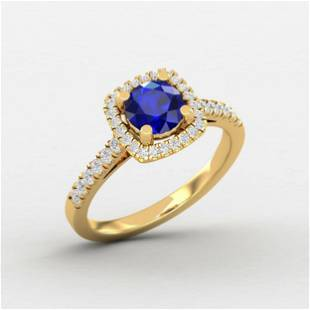 1.05 Ctw Round Blue Sapphire 14K Gold Ring For Women