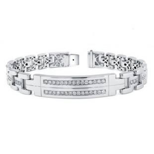 1.38 Carat White Diamond 14K Gold Bracelet For Women