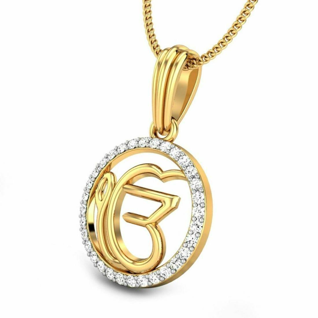 0.16 Ctw Round White Diamond 18K Gold Pendant For Women