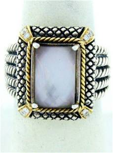 925 SILVER 18K GOLD PINK QUARTZ DIAMOND CABLE BAND RING