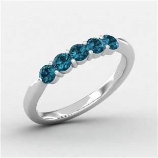 0.60 Ctw Round Blue Topaz 14K Gold Ring For Women