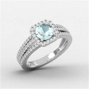 1.25 Ctw Round Blue Aquamarine 14K Gold Ring For Women