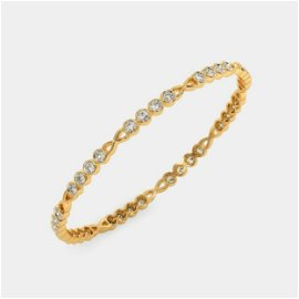 2.52 Ct Round White Diamond 18K Gold Bracelet For Women