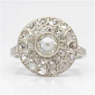 Antique Platinum Rose Cut Diamond Engagement Ring