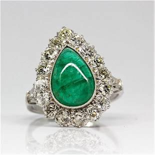 Platinum Handmade Emerald & Diamond Halo Ring