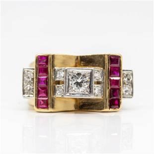 An original 1940s Retro European Cut Diamond and Rubies