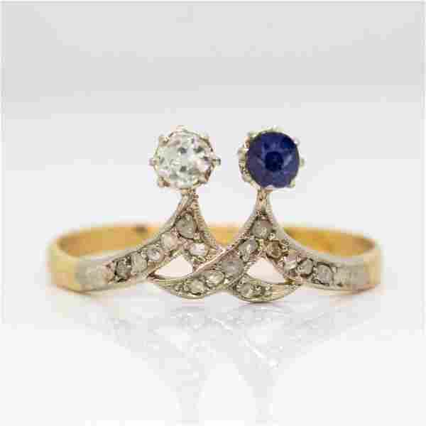 Antique Art Nouveau 18k Gold and Platinum Diamond and