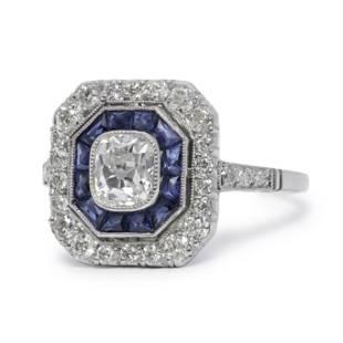 Art Deco Inspired Antique Old Diamond & Sapphire Ring