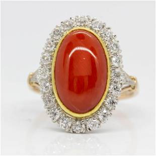 Estate 18k gold and Platinum Coral and Diamond Ring