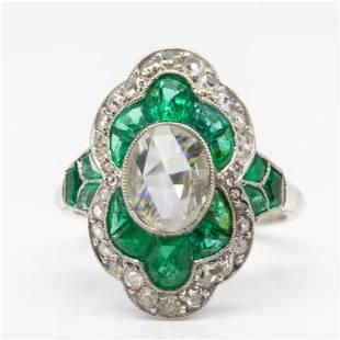 Antique Art Deco Platinum Rose Cut Diamond and Emerald