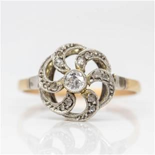 Antique Art Deco 18k gold and Platinum Diamond Ring
